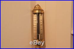 Antique 1890 Portugal Brass Ship's Stick Barometer R. N DESTERRO LISBON