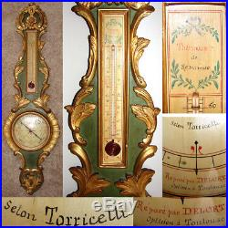 Antique 18th C. Italian 38 Wall Barometer, Gilt Carved Wood, Selon Torricelli
