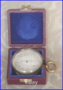 Antique 1900 Cased Compensated Pocket Brass Barometer Altimeter England N Mint