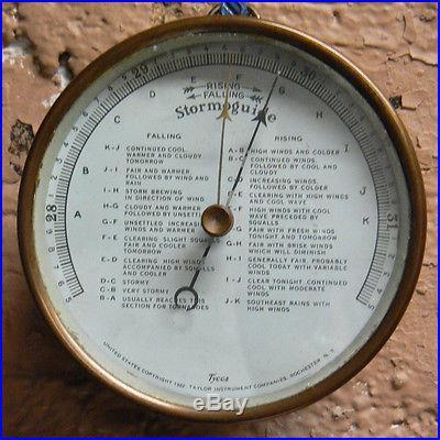 Antique 1922 Tycos Taylor Stormoguide Brass Barometer Instrument Steampunk Gauge