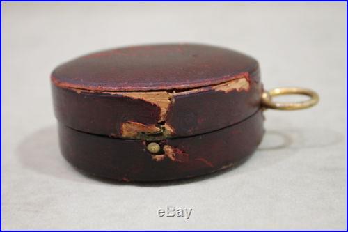 Antique 19thC Keuffel & Esser Co N. Y. Brass Pocket Barometer & Leather Case