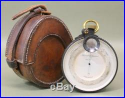 Antique 19thC Surveying Aneroid Compensated Brass Barometer & Leather Case