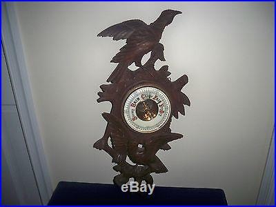 Antique 19th C German Black Forest Wood Carving Birds Glass Eyes Barometer