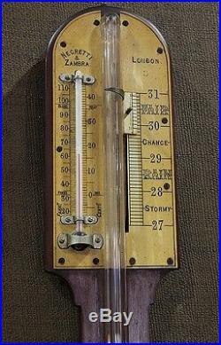 Antique 19th Century English Negretti and Zambra Stick Barometer London 1885