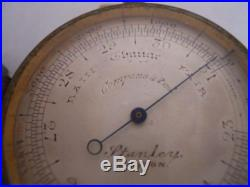 Antique 19th Century English Pocket Barometer Stanley London England with Case