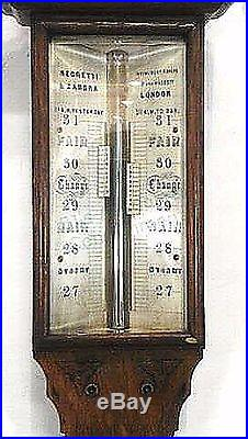 Antique 19th Century Negretti and Zambra English Stick Barometer c 1850