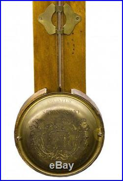 Antique 19th Century Stick Barometer Walnut Case Inscription in Latin