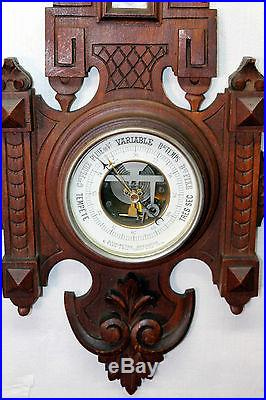 Antique 19th Century Victorian Black Forest Wall Barometer -Thermometer