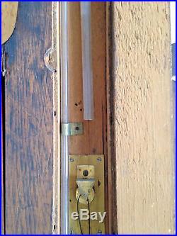 Antique Abraham & Co. Liverpool Wood Mahogany Wall Banjo Barometer Thermometer