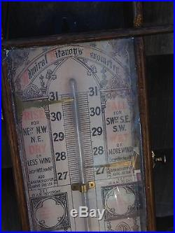 Antique Admiral Fitzroy Barometer Thermometer in Wooden Oak Cabinet