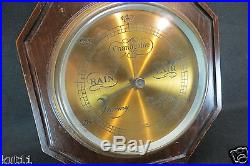 Antique Aitchison Aneroid Barometer With Thermometer Carved Turned Case