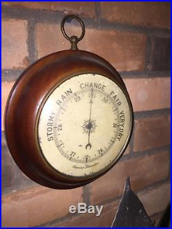 Antique Aneroid Barometer Beautiful Large wood & brass Case