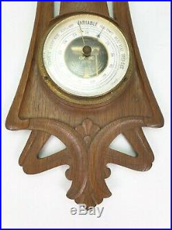Antique Art Nouveau Jugendstil Wooden Weather Station Barometer Thermometer
