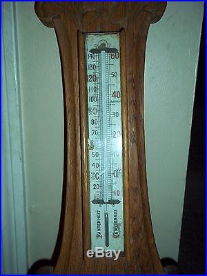 Antique Banjo Aneroid Wooden Barometer