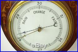 Antique Barometer, Aneroid Barometer, Carved Inlaid Barometer, Aneroid, B1235