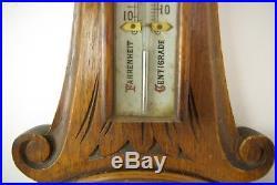 Antique Barometer, Aneroid Barometer, Decorative Barometer, Oak, 1890, B1282A