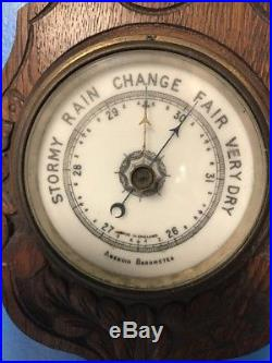 Antique Barometer Ornate Carved Wood Aneroid Victorian Thermometer England Works