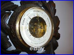Antique Barometer & Thermometer, Hand Carved German Black Forest