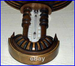 Antique Bavarian Historism Carved Wood Barometer/Thermometer 19th century C & F