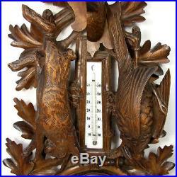 Antique Black Forest 29 Barometer Stag, Fruits of the Hunt Carved Hare & Bird