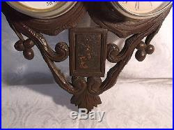 Antique Black Forest Barometer with Alarm Clock and Thermometer Working