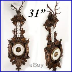 Antique Black Forest Carved 31 Fruits of the Hunt Barometer Stag, Dog, Fox ++