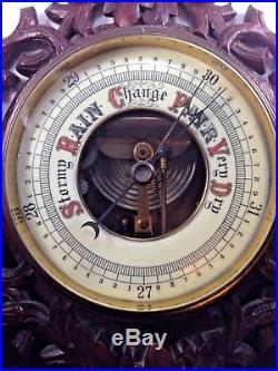 Antique Black Forest Carved Barometer & Porcelain Face Thermometer Forest Decor