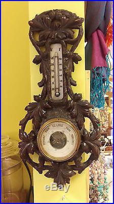 Antique Black Forest Carved Thermometer Barometer
