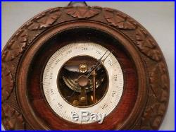 Antique Black Forest Carved W Brass Barometer W MS & An Anchor Mark No Res