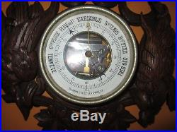 Antique Black Forest Hand Carved Barometer With Thermometer Made In Germany