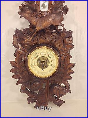 Antique Black Forest Weather Station with Hunter Motif Germany