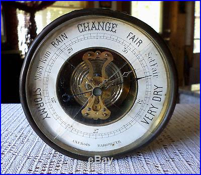 Antique Brass & Copper Portable Aneroid Barometer w/Handle & Small Compass