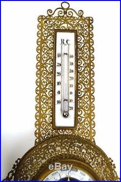 Antique Brass Filigree Barometer / Thermometer, German