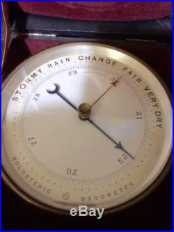 Antique Brass PHBN Holosteric Barometer & Case In Excellent Vintage Condition