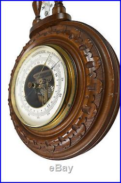 Antique Carved Barometer / Thermometer, Dutch