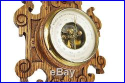 Antique Carved Oak Barometer / Thermometer Combination, Dutch