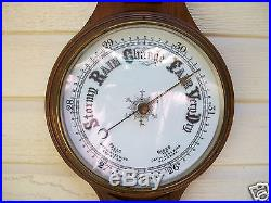 Antique Carved Oak Barometer and Thermometer