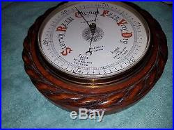 Antique Carved Oak Twisted Barley Aneroic Barometer