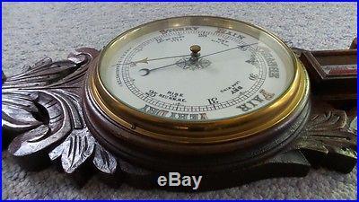 Antique Carved Solid Oak Aneroid Barometer + Thermometer Porcelain Face N/R