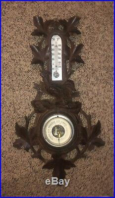 Antique Carved Wood Black Forest Barometer With Rooster