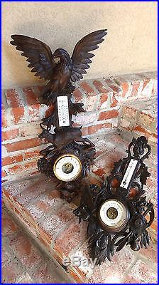 Antique Carved Wood Hunt Black Forest Barometer Thermometer EAGLE -BUCK-DEER