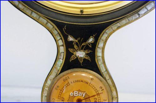 Antique Carved Wood & MOP Shortland Smiths Banjo Barometer Thermometer England