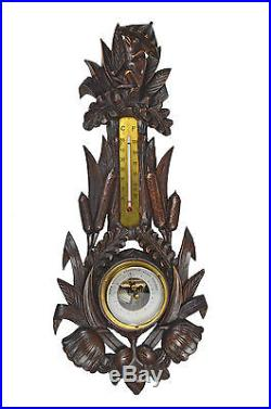 Antique Cattail and Frog Carved Barometer / Thermometer, Marked H F, German