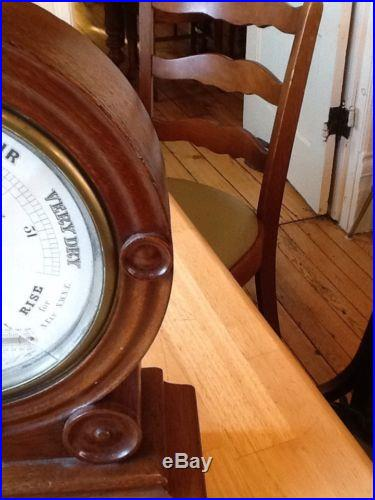 Antique Chadburn & Son Barometer with Weighted Oak Case Mantle Ships RARE