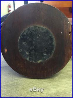 Antique Dark Carved Oak And Brass Barometer Weather Station. Very Unique