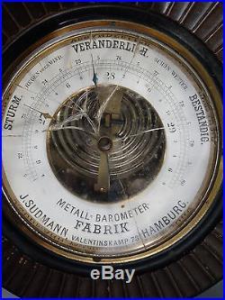 Antique EDWARDIAN Era GERMAN Weather Station J. SUDMANN Old WOOD Wall BAROMETER