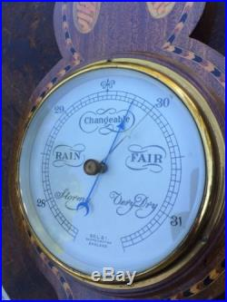 Antique Edwardian Selsi English Banjo Style Barometer Marquetry Inlay