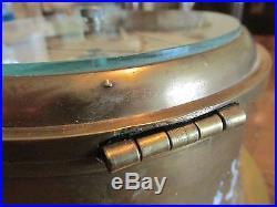 Antique Emory & Douglas Co Ltd BRASS SHIPS BAROMETER England Works Hinged Bezel