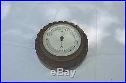 Antique English Barometer with Carved Oak Case