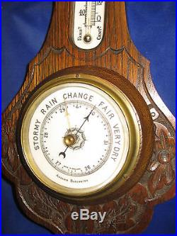 Antique English Handcarved Solid Wooden Barometer, Thermometer, Porcelain Face